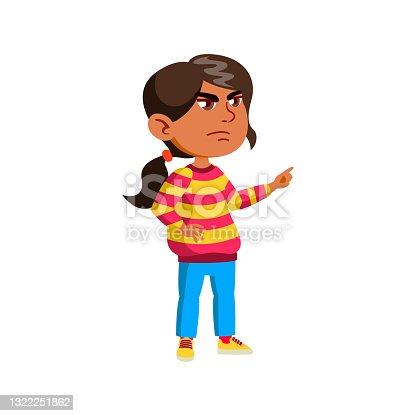 mad girl kid swearing doll in room cartoon vector