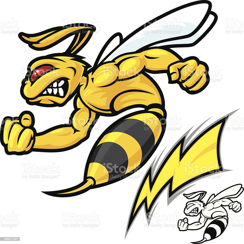 Mad Hornet Lightning vector art illustration