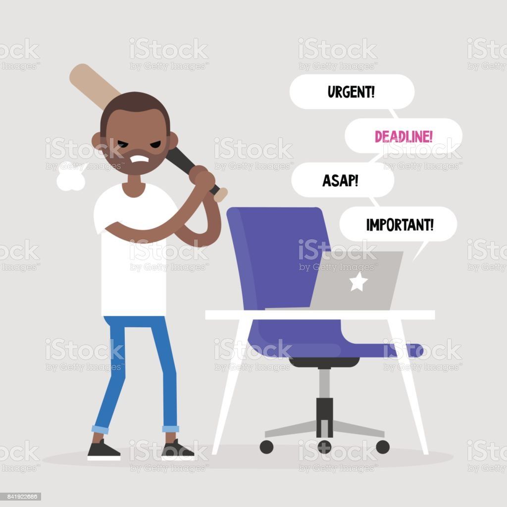Mad office worker conceptual illustration. Young black character hitting a laptop with a baseball bat. Flat editable vector illustration, clip art vector art illustration