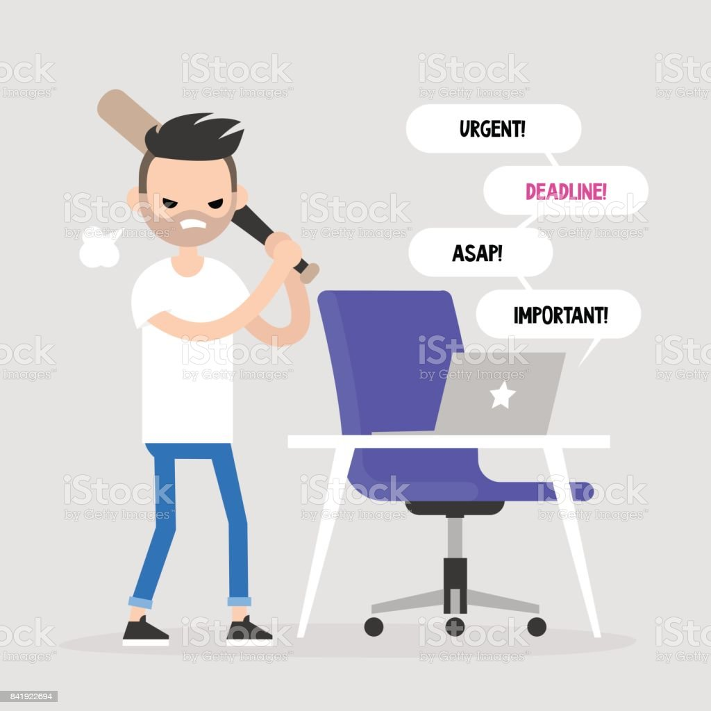 Mad office worker conceptual illustration. Young character hitting a laptop with a baseball bat. Flat editable vector illustration, clip art vector art illustration