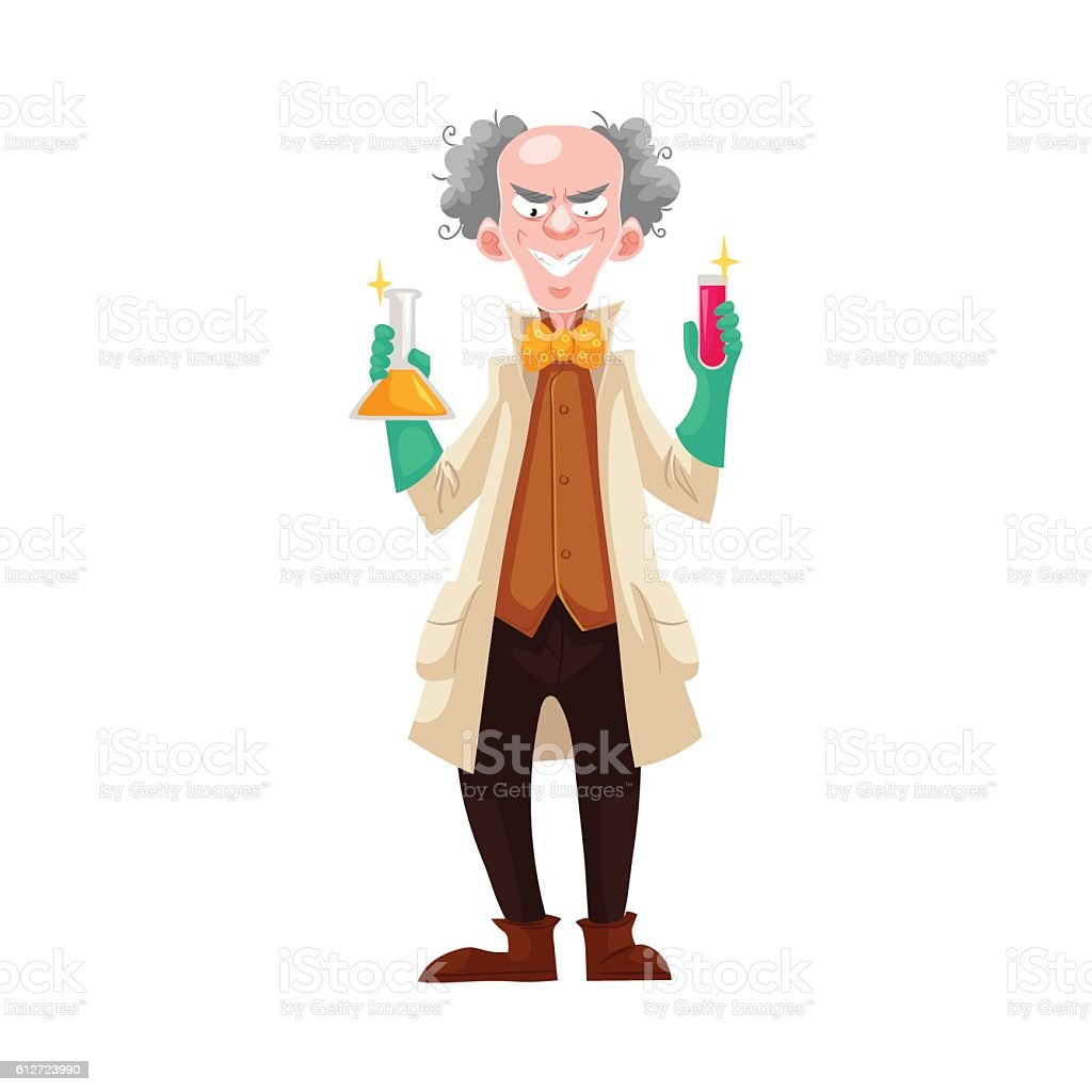 Mad professor in lab coat and green rubber gloves vector art illustration