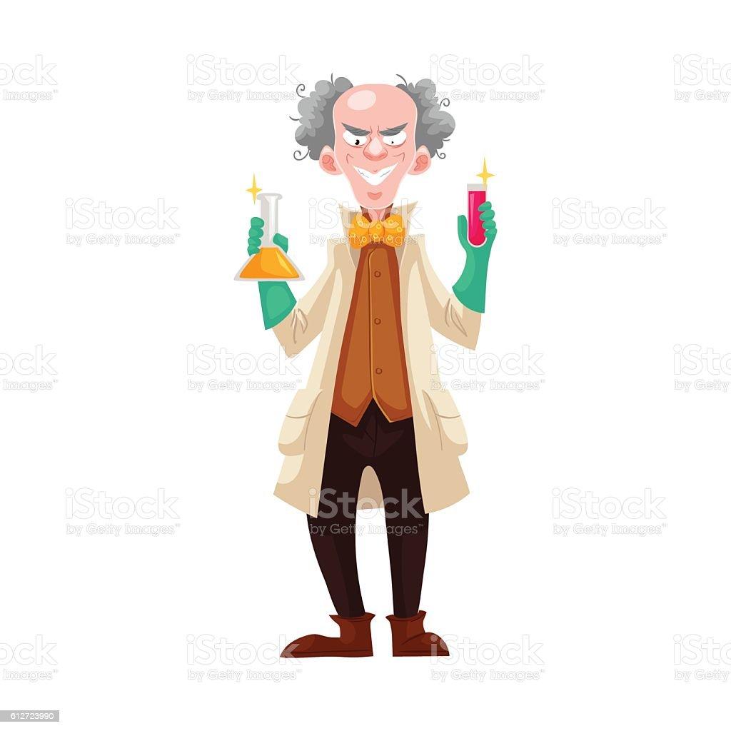 Mad professor in lab coat and green rubber gloves – Vektorgrafik