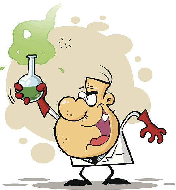 Mad Scientist Holding A Flask With Background vector art illustration