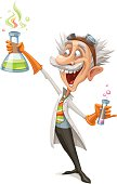 Mad Scientist Making a Discovery - Vector Illustration.
