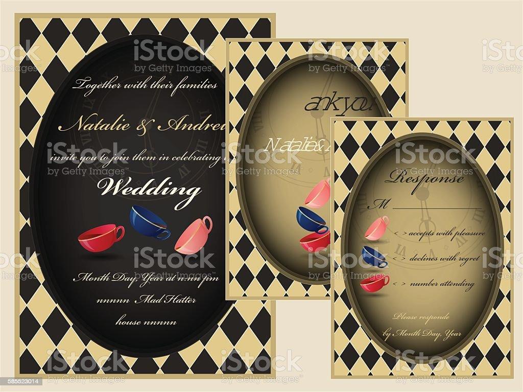 Mad tea party wedding invitation set. RSVP. Thank you card. vector art illustration