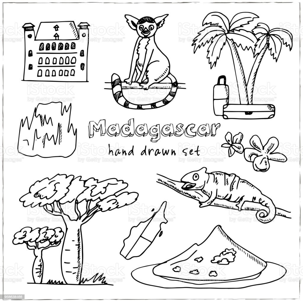madagascar hand drawn doodle set sketches vector illustration for Madagascar Education madagascar hand drawn doodle set sketches vector illustration for design and packages product symbol collection isolated elements on white background
