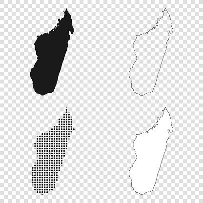 Map of Madagascar for your own design. With space for your text and your background. Four maps included in the bundle: - One black map. - One blank map with only a thin black outline (in a line art style). - One mosaic map. - One white map with a thin black outline. The 4 maps are isolated on a blank background (for easy change background or texture).The layers are named to facilitate your customization. Vector Illustration (EPS10, well layered and grouped). Easy to edit, manipulate, resize or colorize.
