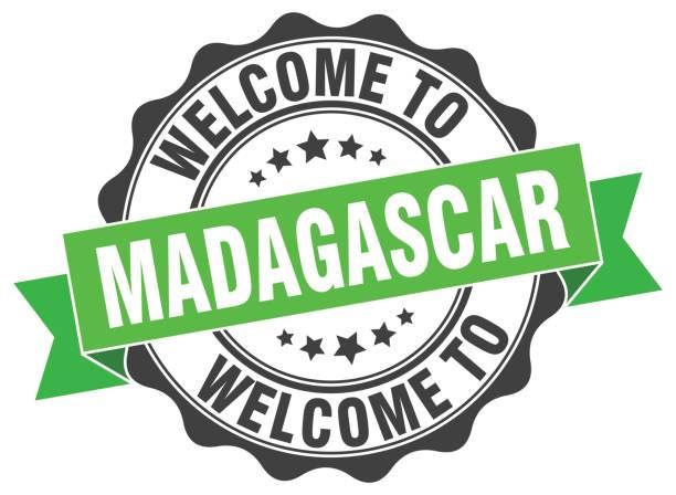 Madagascar round ribbon seal vector art illustration