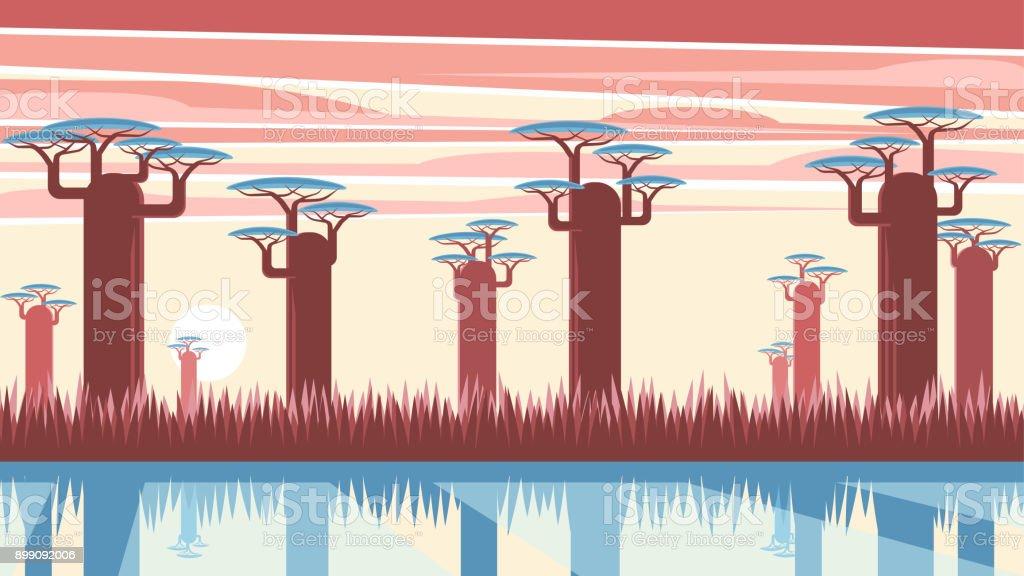 Madagascar vector landscape vector art illustration