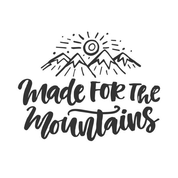 ilustraciones, imágenes clip art, dibujos animados e iconos de stock de hecho para el emblema de las montañas. cartel dibujado mano - mountain top