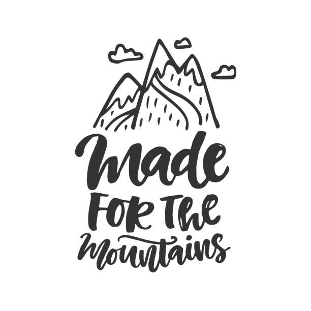 ilustraciones, imágenes clip art, dibujos animados e iconos de stock de hecho para el emblema de las montañas - mountain top