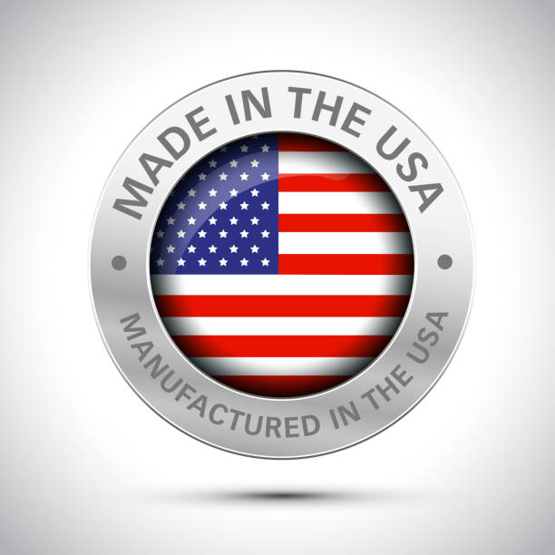made in america flag icon - wykonać stock illustrations