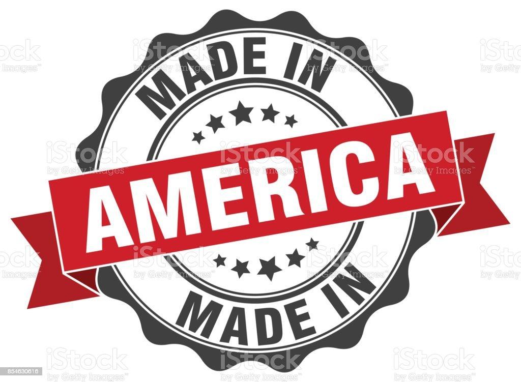 feito na América rodada selo - ilustração de arte em vetor