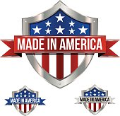 A Made in America shield and banner using patriotic colors. Red, white and blue with stars wrapped in a shiny metal shield with a fancy ribbon.