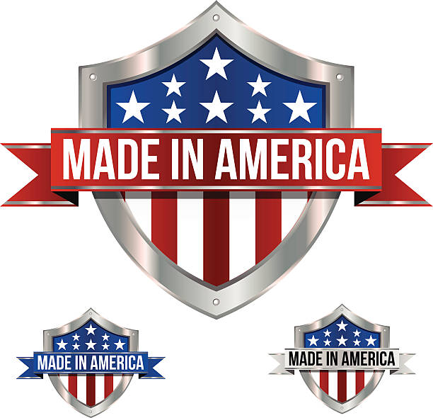 Made in America Shield and Banner A Made in America shield and banner using patriotic colors. Red, white and blue with stars wrapped in a shiny metal shield with a fancy ribbon. making stock illustrations
