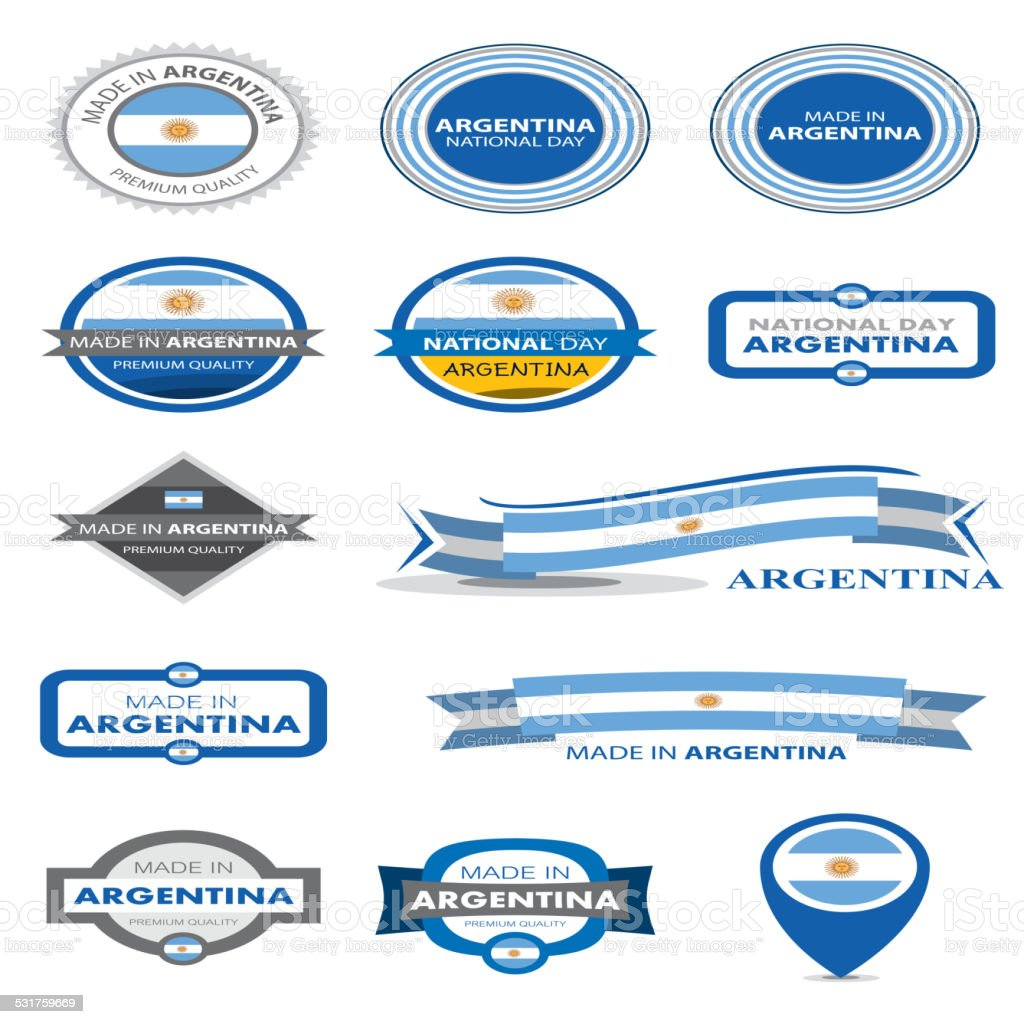 Made in Argentina Seal Collection, Argentinian Flag (Vector Art) vector art illustration