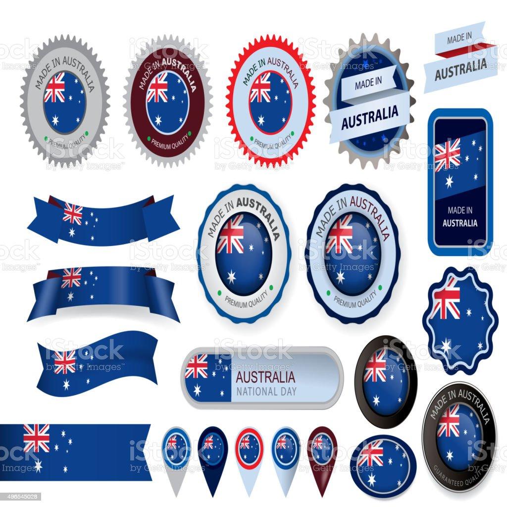 オーストラリア製シール、オーストラリア国旗(ベクター素材) ベクターアートイラスト