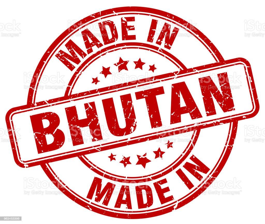 Bhutan kırmızı grunge yuvarlak yapılmış damga - Royalty-free Amblem Vector Art