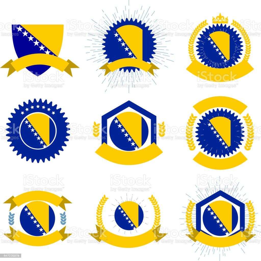 Made in Bosnia and Herzegovina logo set - Illustration vectorielle