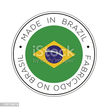 Round icon with flag of Brazil.