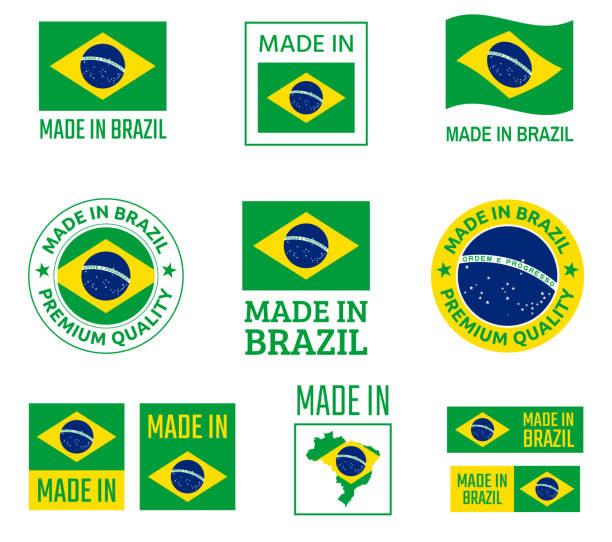 ilustrações, clipart, desenhos animados e ícones de feito no brasil conjunto de rótulos, república federativa do brasil emblema do produto - brazil