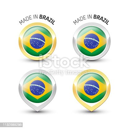Made in Brazil - Guarantee label with the Brazilian flag inside round gold and silver icons.