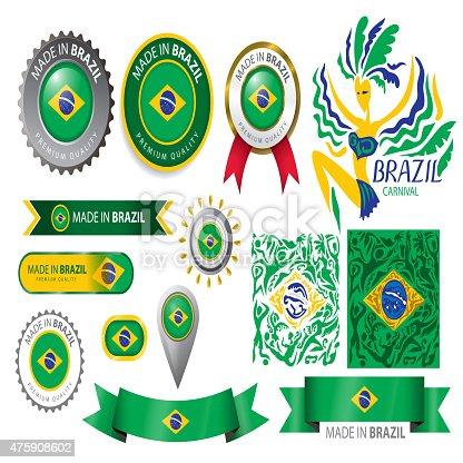 Made in Brazil Seal, Brazilian Flag (Vector Art)