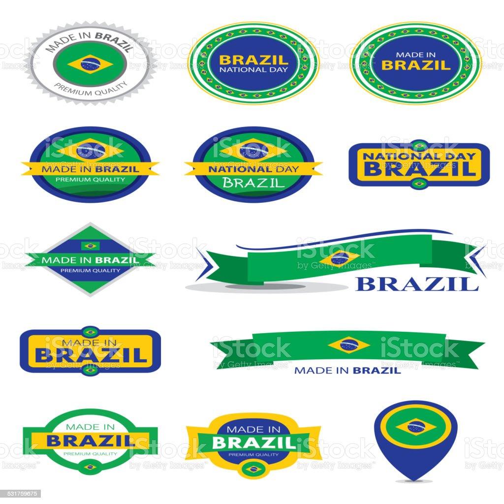 Made in Brazil Seal Collection, Brazilian Flag (Vector Art) vector art illustration