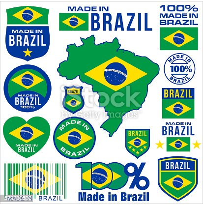 Made in brazil VECTOR FLAG MAP tag set label