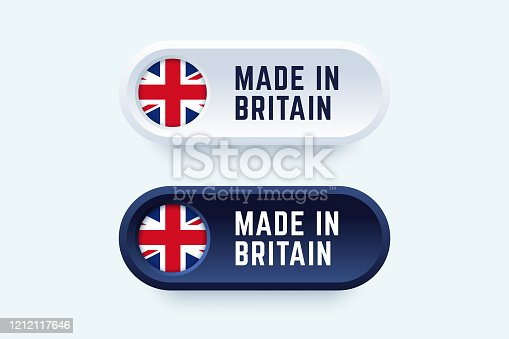 Made in Britain. Vector sign in two color styles with national Britain flag for national products and producers.