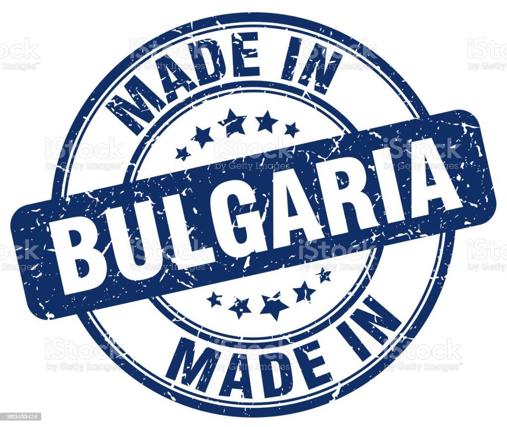 Bulgaristan mavi grunge yuvarlak yapılmış damga - Royalty-free Amblem Vector Art