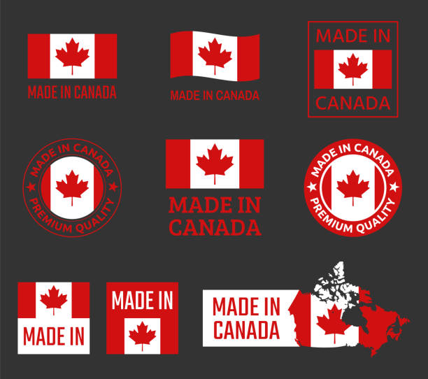 made in canada icon set, canadian product labels - wykonać stock illustrations