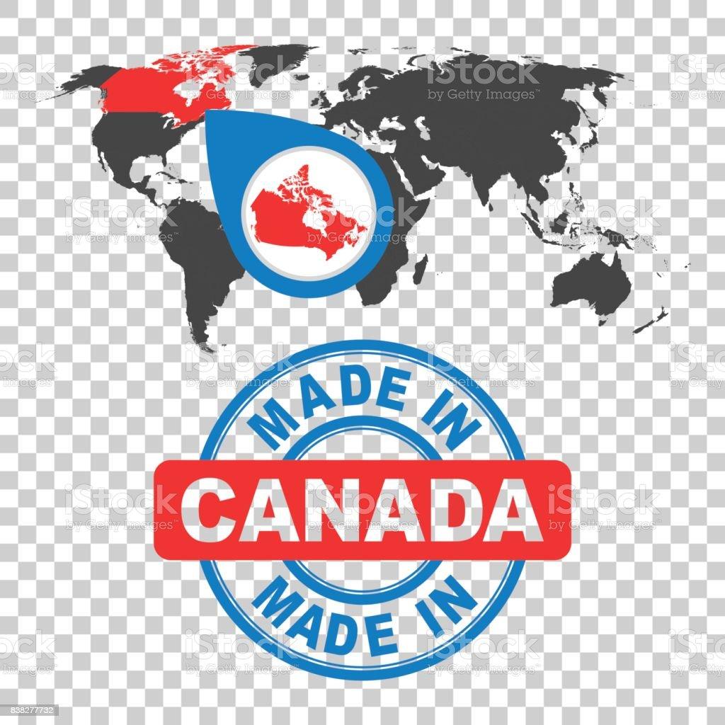 カナダのスタンプで作った。赤い国の世界地図。孤立した背景にフラット スタイルのベクトル紋章。 ベクターアートイラスト