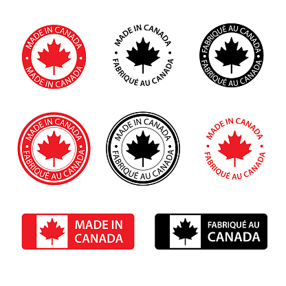 Different kind of made in Canada stamps isolated on white in English and French