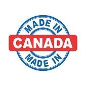 Made in Canada. Vector emblem flat