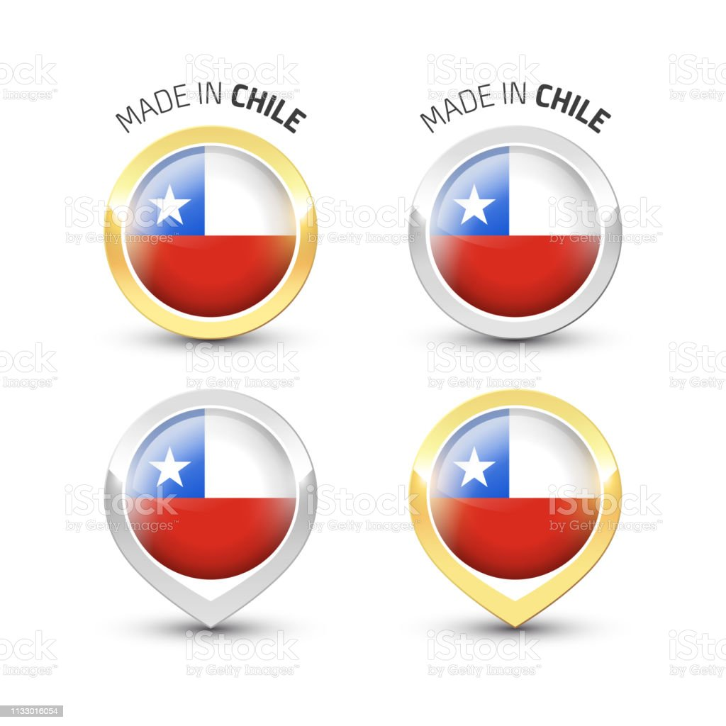 Made in Chile - Round labels with flags vector art illustration