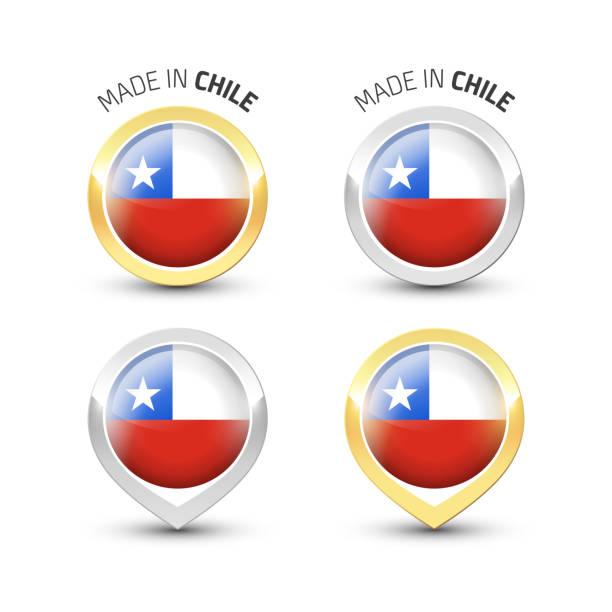 ilustraciones, imágenes clip art, dibujos animados e iconos de stock de fabricado en chile-etiquetas redondas con banderas - bandera de chile