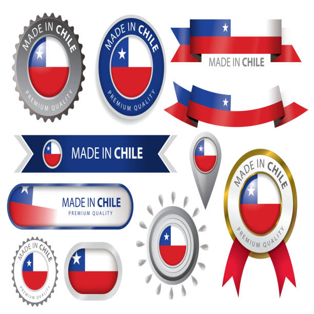 made in chile seal, chilean flag (vector art) - chile flag stock illustrations, clip art, cartoons, & icons