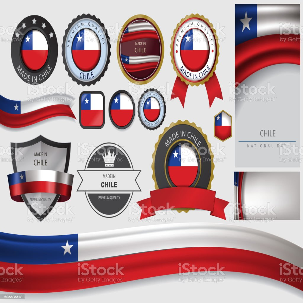 Made in Chile Seal, Chilean Flag (Vector Art) vector art illustration