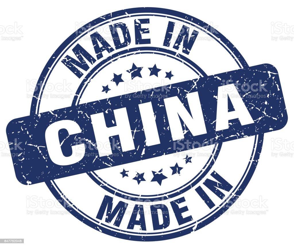 made in China blue grunge round stamp vector art illustration