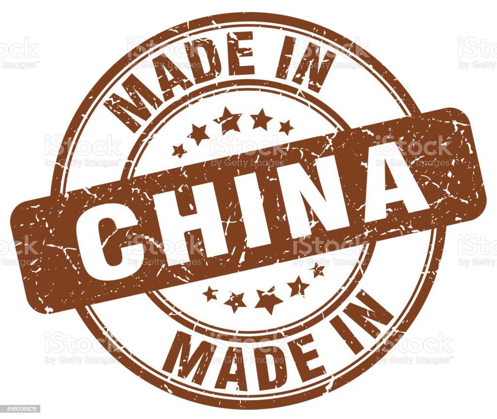 made in China brown grunge round stamp vector art illustration