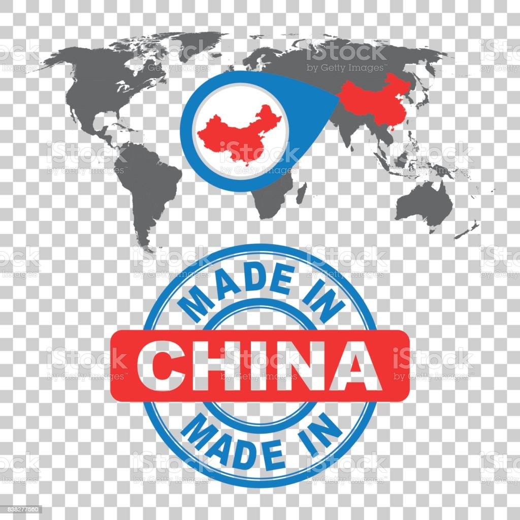 Made in China stamp. World map with red country. Vector emblem in flat style on isolated background. vector art illustration