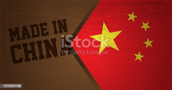 istock Made in China text with China Flag background 1025333180