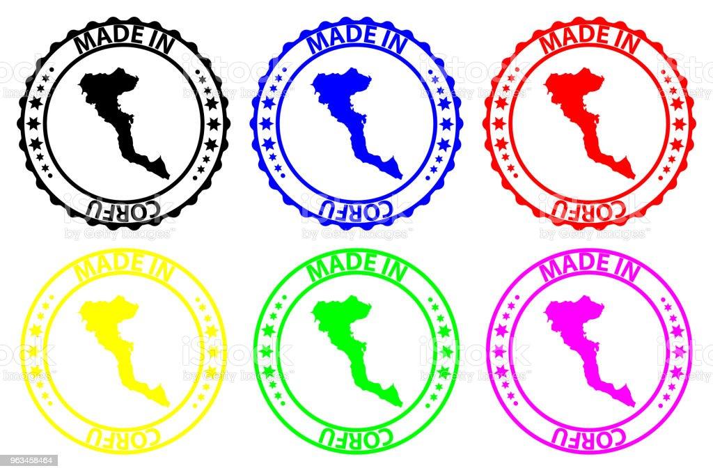 Fait à Corfou rubber stamp - clipart vectoriel de Affaires libre de droits