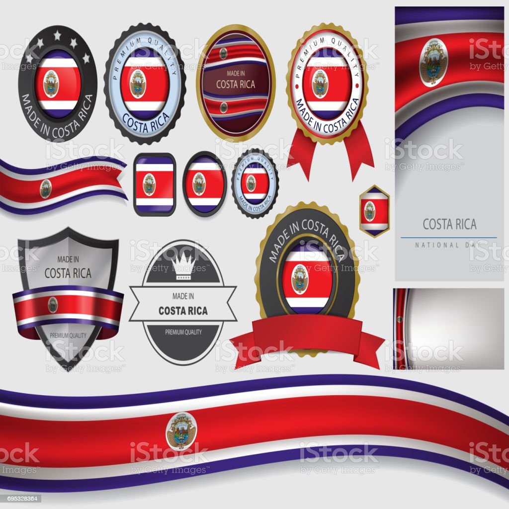 Hecho en sello de Costa Rica, Costa Rica Bandera (Vector Art) - ilustración de arte vectorial