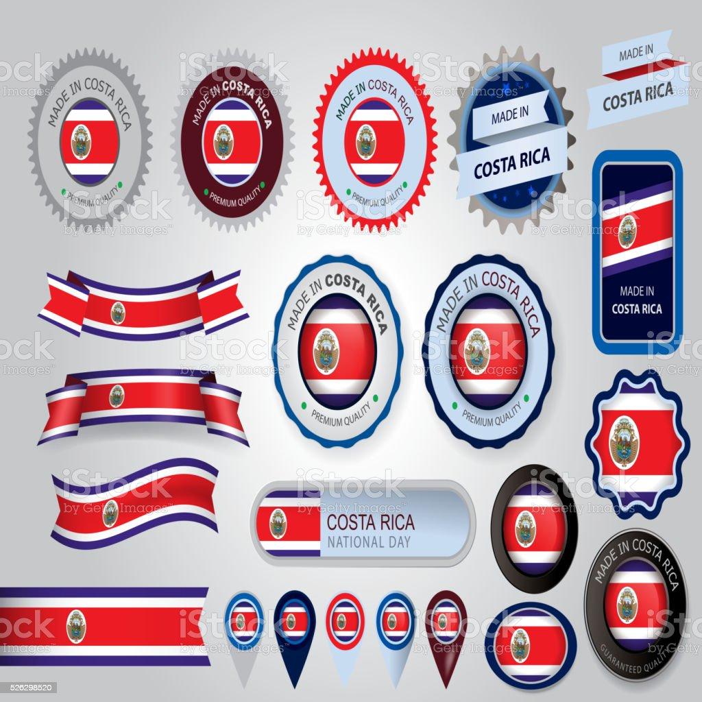 Feitas na Costa Rica, selo e bandeira CostaRican (vetores) - ilustração de arte em vetor