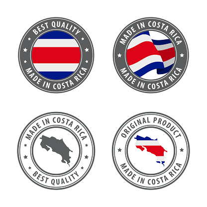 Made in Costa Rica - set of labels, stamps, badges, with the Costa Rica map and flag. Best quality. Original product.