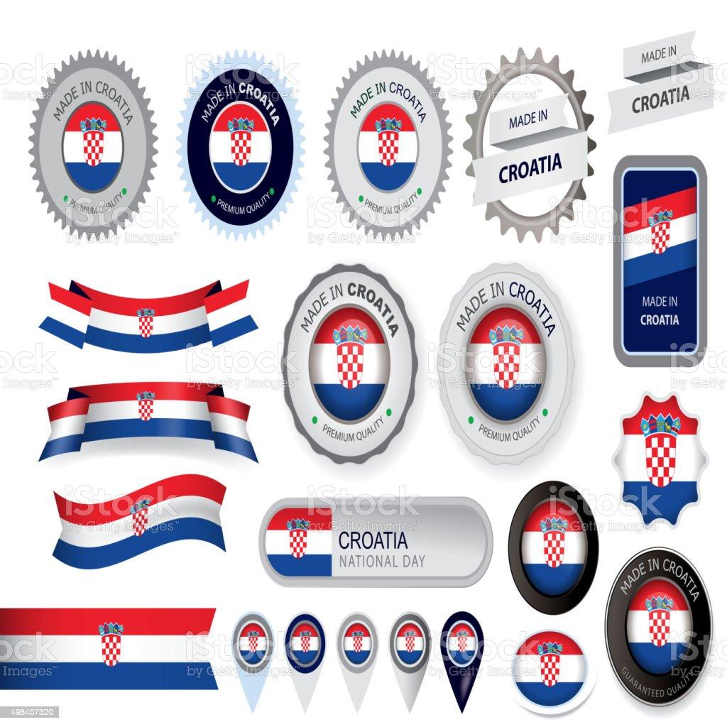 Hecho en Croacia, junta, bandera de croacia (arte vectorial) - ilustración de arte vectorial