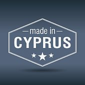 made in Cyprus hexagonal white vintage label