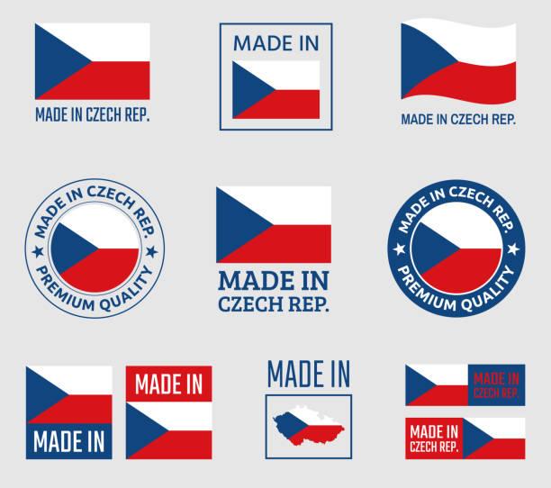 made in czech republic icon set, product labels of czechia - republika czeska stock illustrations